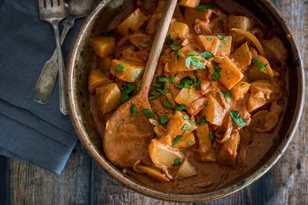 Hungarian Potato Paprikash is a vegetarian twist on the classic dish. Tender potatoes, creamy-tangy sauce, and plenty of spice makes this a satisfying dinner option.
