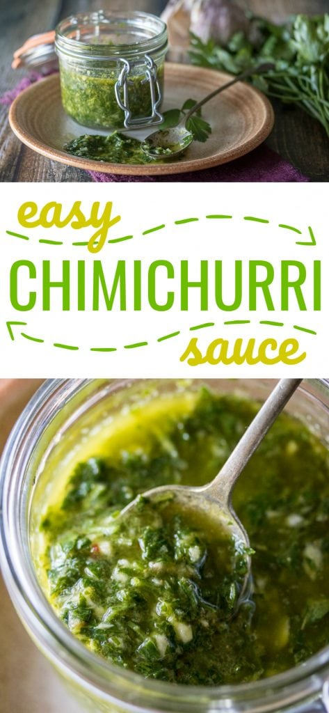 There's nothing like this easy chimichurri sauce recipe to brighten up your favorite dish! Five minutes and a basic food processor are all you need to put together this delicious and versatile condiment. Here is the best Chimichurri sauce recipe easy!