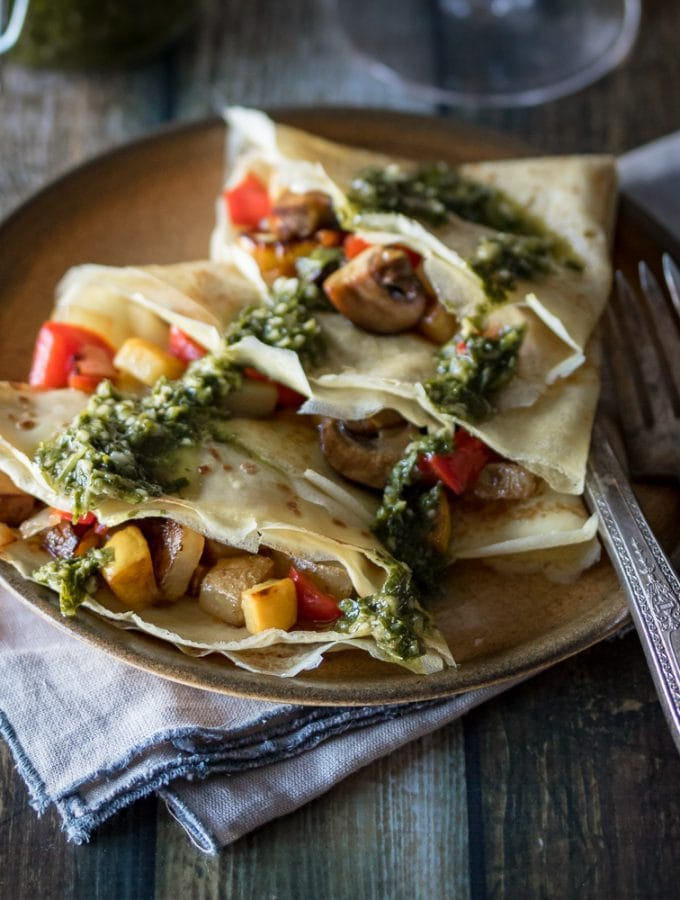 Savory Crepes with Chimichurri Sauce