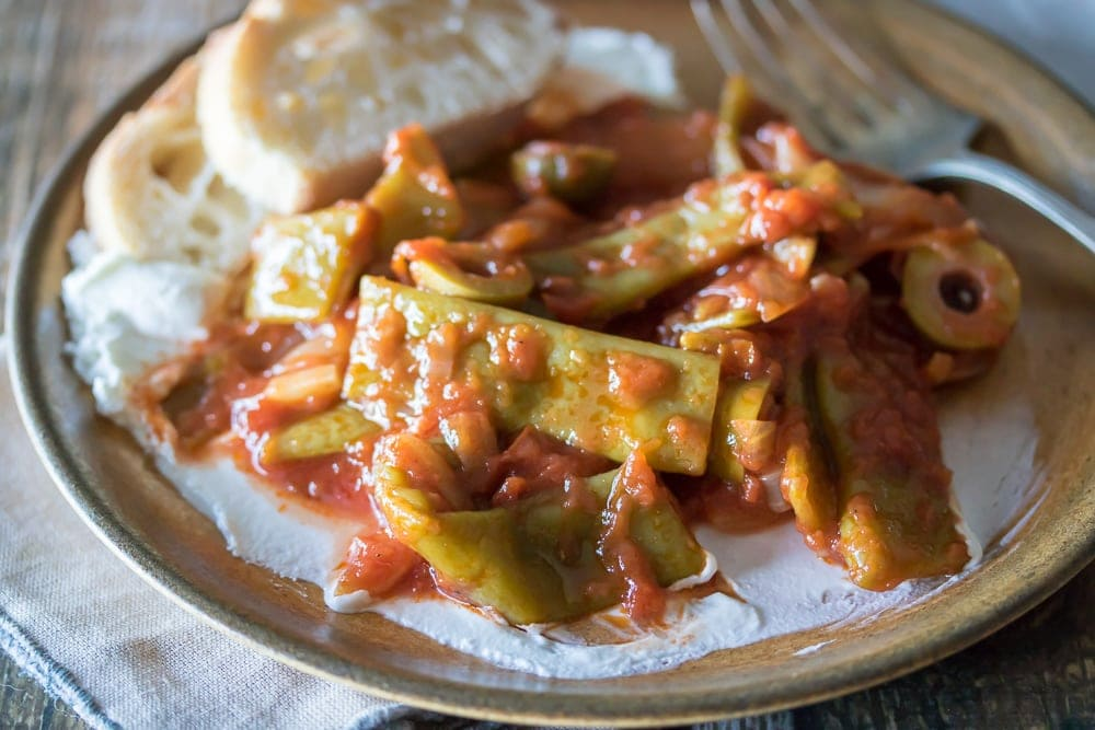16 Sumptuous Side Dishes to Bring to Thanksgiving: Braised Flat Beans in Tomato Sauce