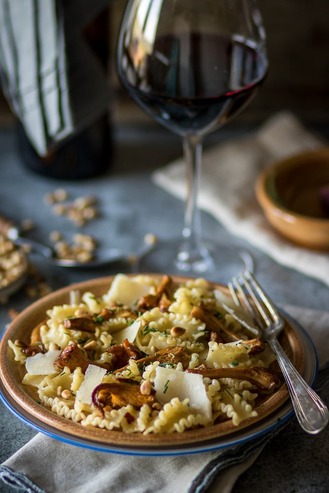 Chanterelles, Parmigiano-Reggiano, and Pine Nuts make this savory pasta absolutely drool-worthy!