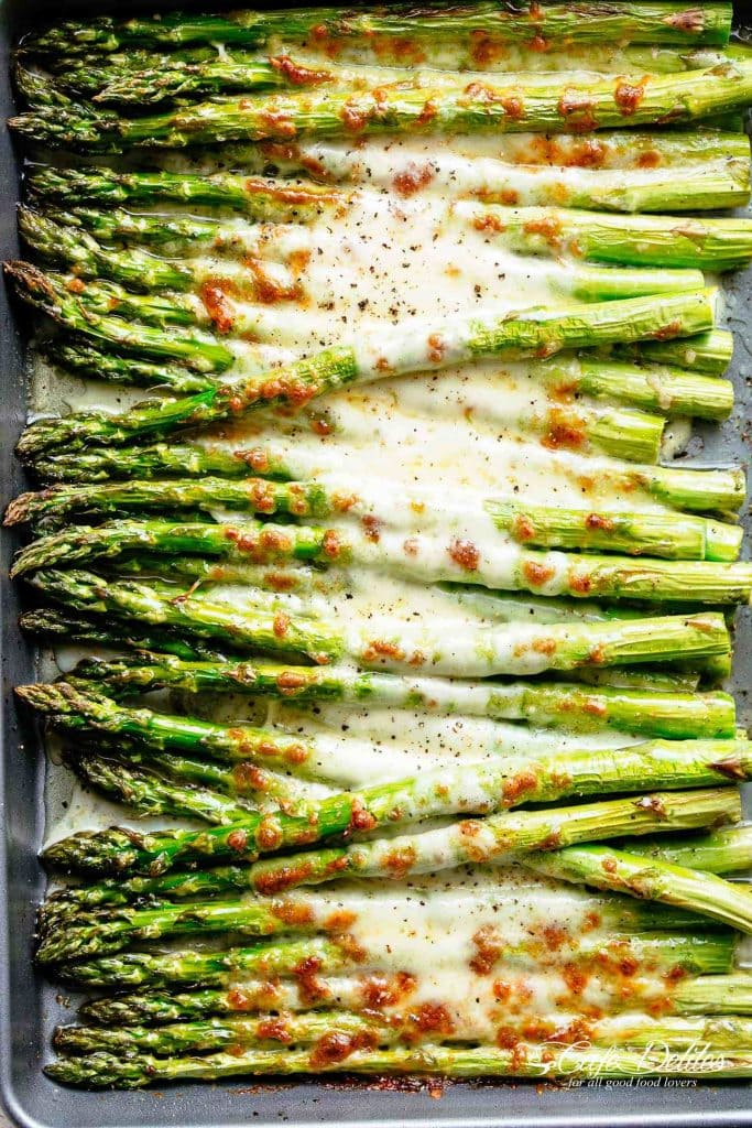 16 Sumptuous Side Dishes to Bring to Thanksgiving - Cheesy Garlic Roasted Asparagus