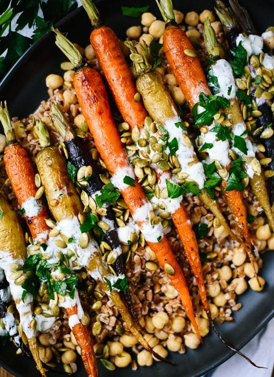 16 Sumptuous Side Dishes to Bring to Thanksgiving - Roasted Carrots with Farro, Chickpeas and herbed Creme Fraiche