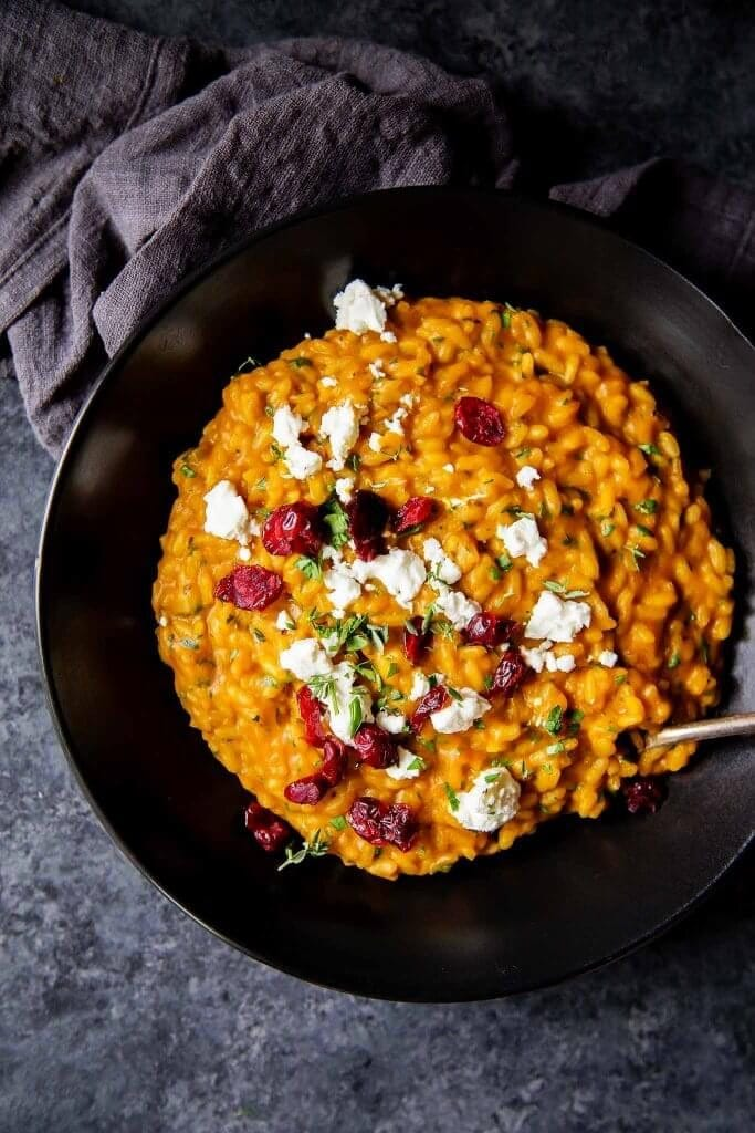 16 Sumptuous Side Dishes to Bring to Thanksgiving - Pumpkin Risotto with Goat Cheese and Cranberries