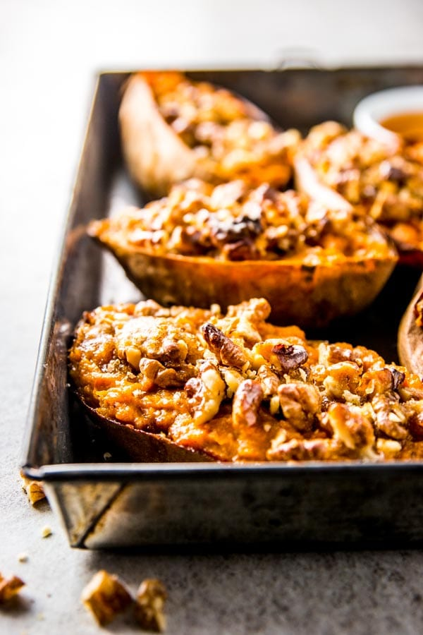 16 Sumptuous Side Dishes to Bring to Thanksgiving - Twice Baked Sweet Potatoes with Maple and Walnuts