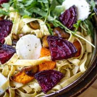 Fresh Pasta with Sweet Potato, Roasted Beet, and Goat Cheese