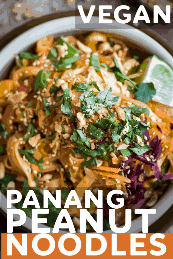 How easy are these dreamy Panang Peanut Noodles? Just whip up the sauce in the blender, toss with hot rice noodles, and load up on toppings! #thai #peanut #noodles #vegan