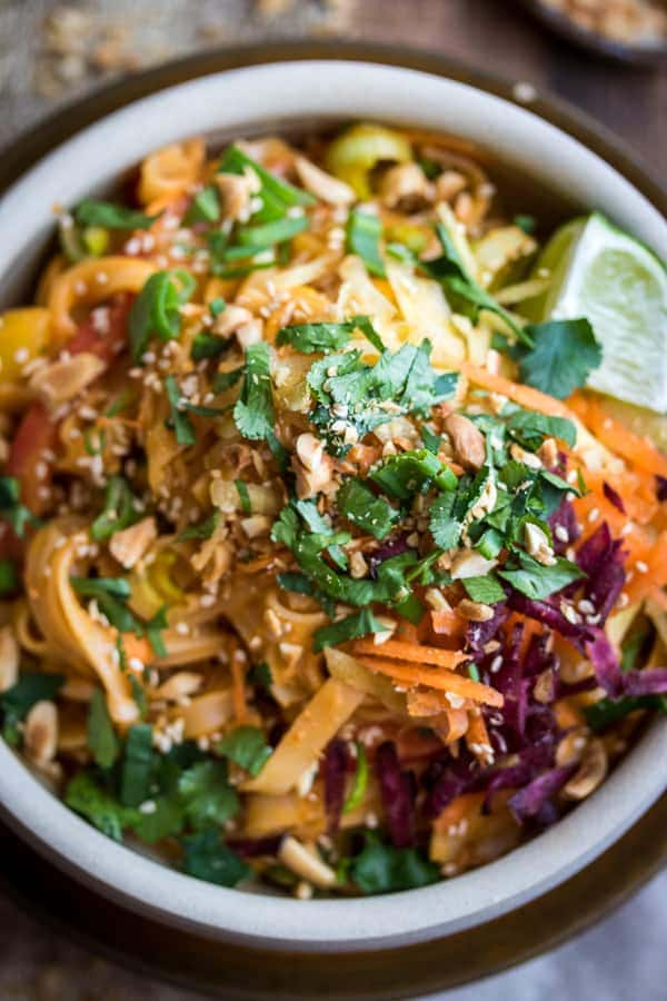 How easy are these dreamy Panang Peanut Noodles? Just whip up the sauce in the blender, toss with hot rice noodles, and load up on toppings!