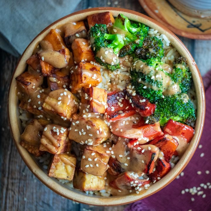 Tempeh Buddha Bowl with Miso-Almond Sauce