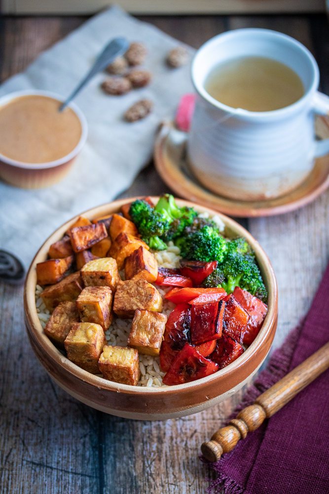 Looking for Buddha Bowl Recipes? This is a great one! When you need to feel nourished, make these simple Miso Tempeh Buddha Bowls. Prepared either by skillet or sheet-pan, this recipe will be on the table in no time!