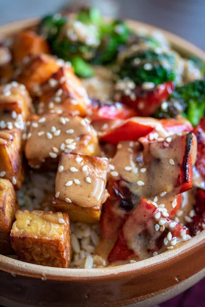 When you need to feel nourished, make these simple Miso-Almond Tempeh Buddha Bowls. Prepared either by skillet or sheet-pan, this recipe will be on the table in to time!