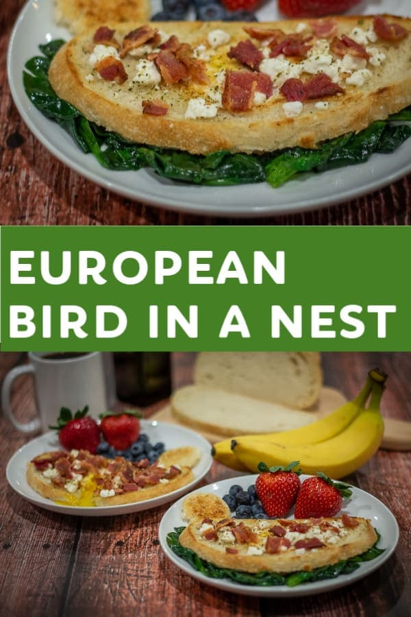 This European Bird in a Nest recipe combines crunchy Italian bread and French seasonings with tangy goat cheese and bacon to create a tasty way to start your morning!