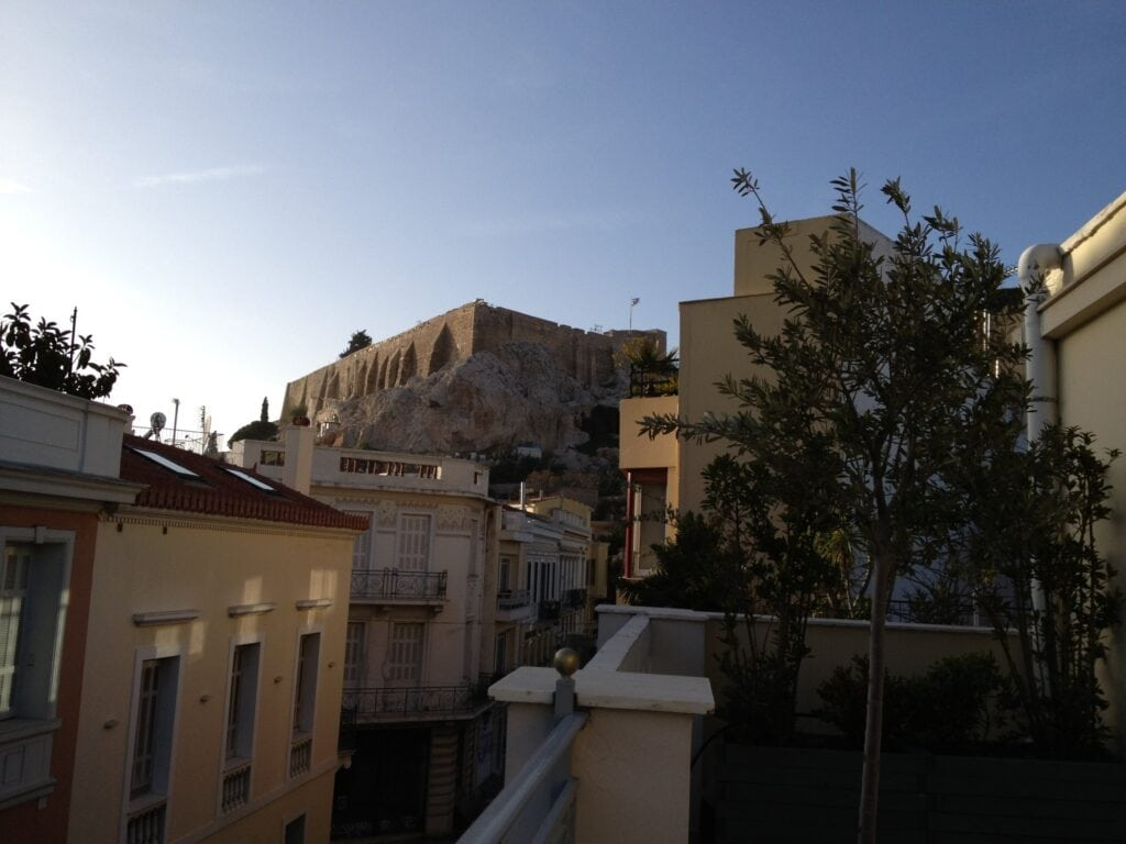 View of the Acropolis from our hotel balcony