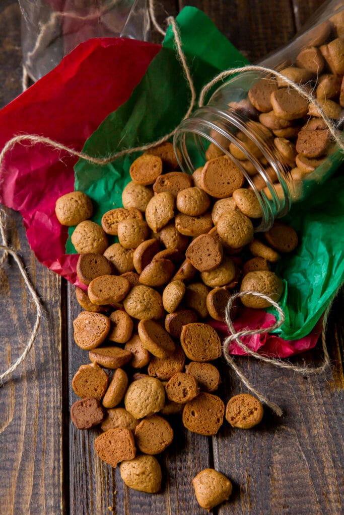 This Peppernuts cookies recipe makes traditional German cookies (Pfeffernüsse Cookies) that are small, crunchy and filled with spices for slightly sweet, addictive cookies! These cookies are wonderful for gift giving during the holidays!