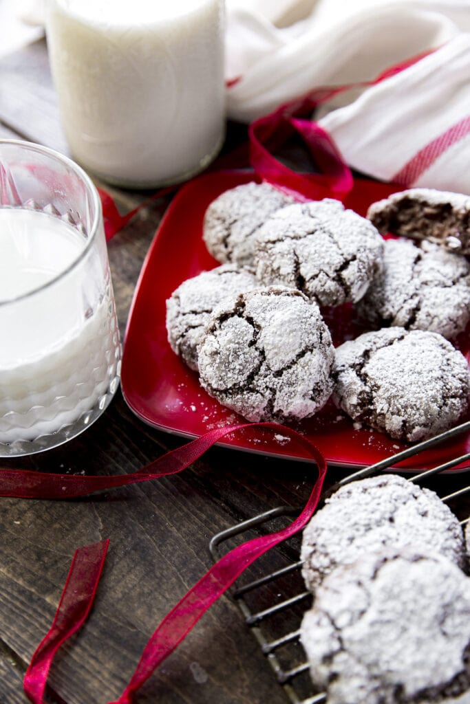 This Double Chocolate Treasures recipe is one of our family favorites for the holidays with melted chocolate, chocolate chips, healthy oats and rolled in powdered sugar for a little chocolate snowball cookie!