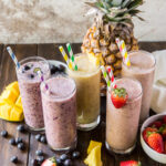 These Five Easy Vegan Smoothies recipes make deliciously healthy fruit smoothies that are dairy free and packed with fruit, protein, healthy fat and grains for a filling breakfast or boost anytime in your day!
