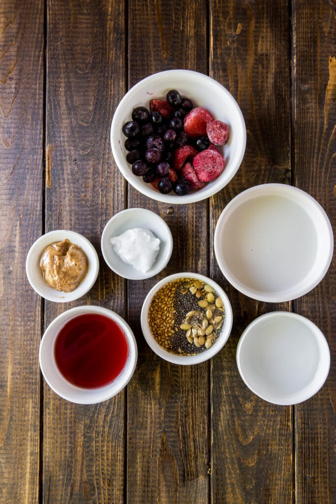Ingredients for the Strawberry and Blueberry Vegan Smoothies recipe!