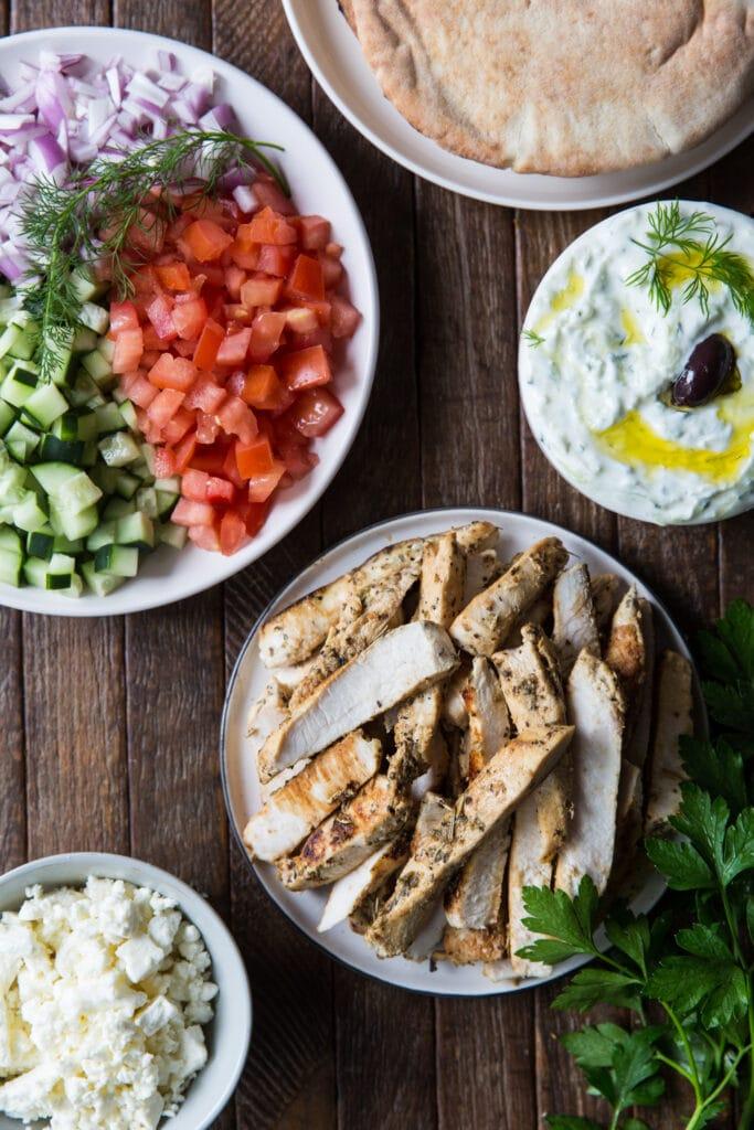 Greek Chicken Gyros Buffet