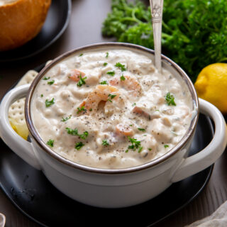 This Creamy Seafood Chowder recipe is filled with salmon, halibut, shrimp, and clams to satisfy your seafood craving!