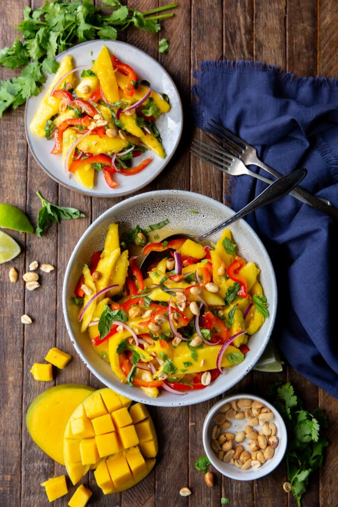 Looking for Mango salad dressing? Check this out. This Mango Salad recipe has sweet mangoes, crisp bell peppers and onions, and a tangy lime dressing that all pairs together perfectly!