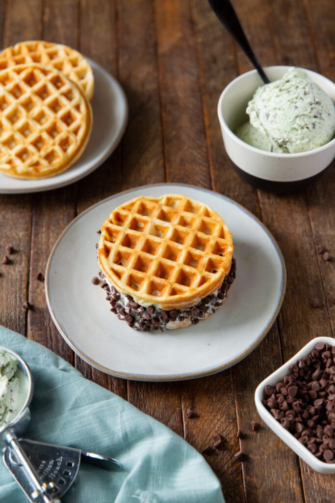 This homemade waffle sandwich ice cream recipe is a delicious way to cool off in the summer with your favorite ice cream and toppings!
