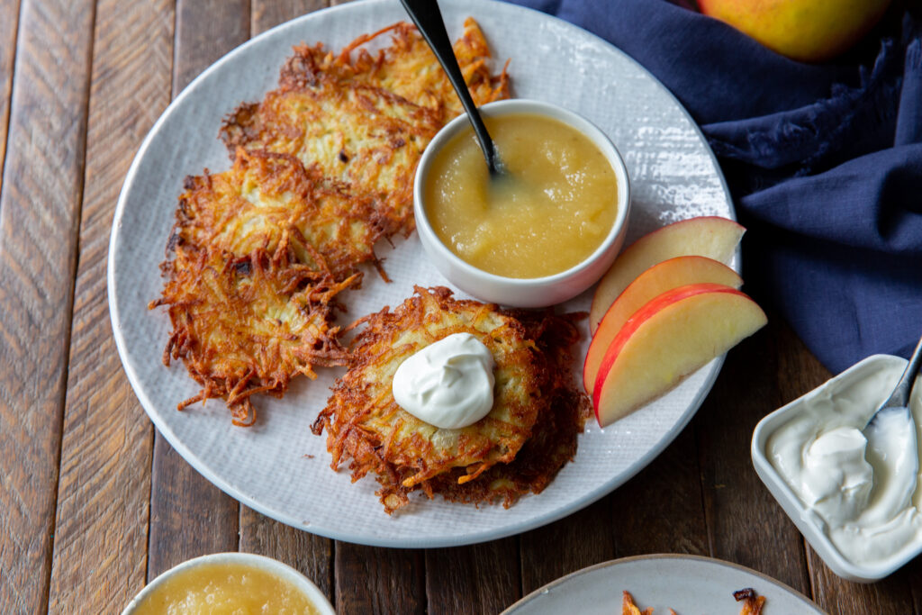 Looking for potatoes pancake recipe? This classic German Potato Pancake recipe, also known as Kartoffelpuffer, is a savory and crispy side dish that can be served with any meal!