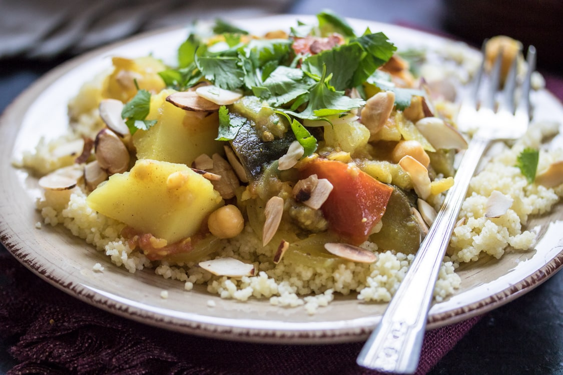 A delightful (and vegan!) tagine of eggplant, potato, chickpeas, and apricot.
